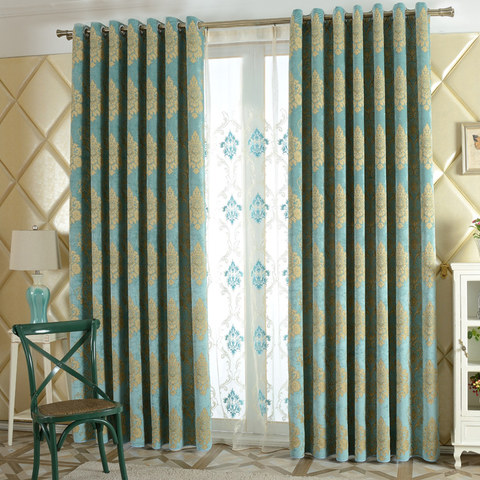 Luxury Damask Heavy Chenille Jacquard Teal Blue Curtain 3