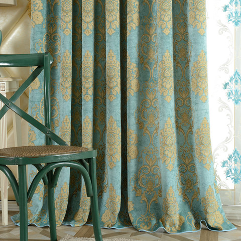 Luxury Damask Heavy Chenille Jacquard Teal Blue Curtain 1