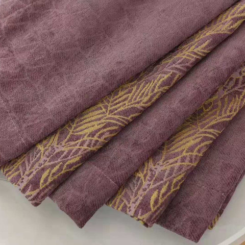 Chenille Jacquard Gold Floral Teal Purple Curtain 4