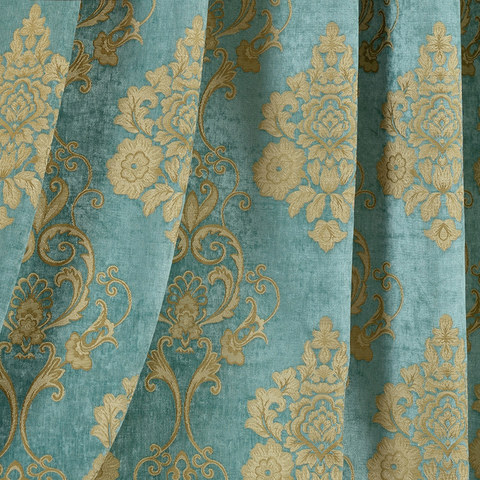 Luxury Damask Heavy Chenille Jacquard Teal Blue Curtain 2
