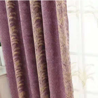 Chenille Jacquard Gold Floral Teal Purple Curtain 3