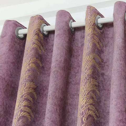 Chenille Jacquard Gold Floral Teal Purple Curtain 5