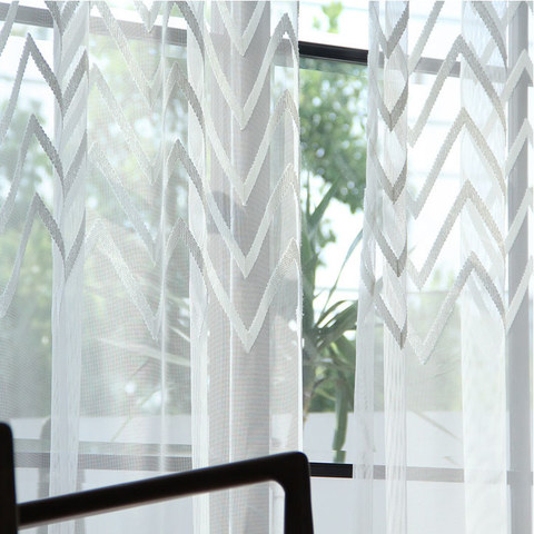 Sheer Curtain Wave Some Magic Cream Geometric Wave Voile Curtain 8