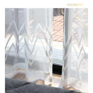 Sheer Curtain Wave Some Magic Cream Geometric Wave Voile Curtain 10