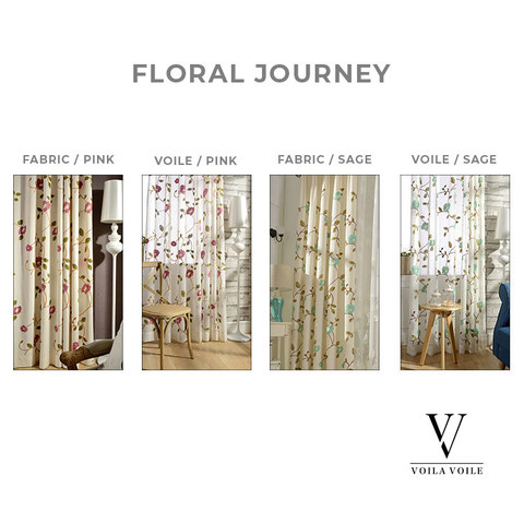 Floral Journey Sage Embroidered Sheer Voile Curtain 4