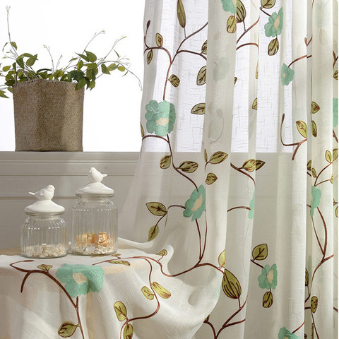 Floral Journey Sage Embroidered Sheer Voile Curtain 1