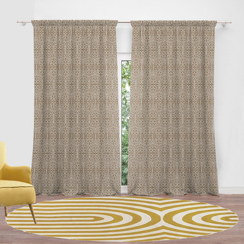 Folk Heart Scandinavian Floral Heavy Chenille Jacquard Coffee Brown Curtain 3