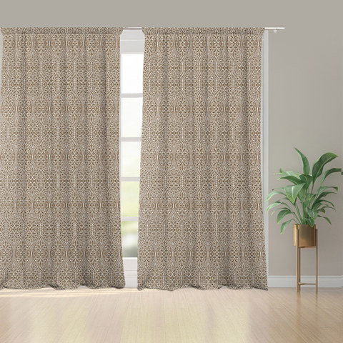 Folk Heart Scandinavian Floral Heavy Chenille Jacquard Coffee Brown Curtain 1