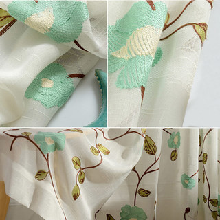 Floral Journey Sage Embroidered Sheer Voile Curtain 2