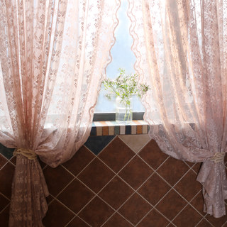 Lace Curtain Posey Pastel Pink Net Curtains 1