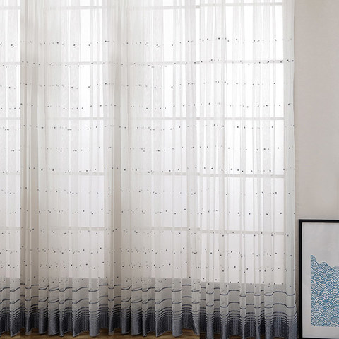 Embroidered Blue Grey Dotted Dot Voile Curtain 3