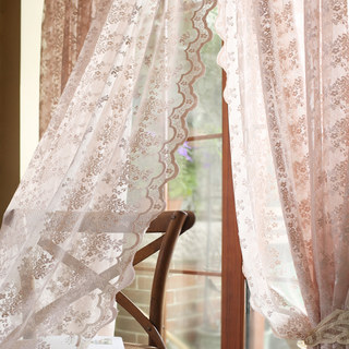 Lace Curtain Posey Pastel Pink Net Curtains 4