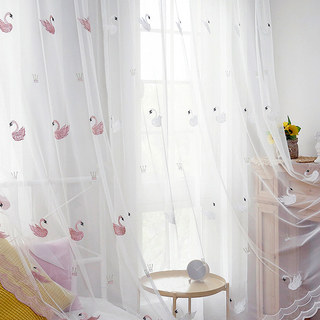 Royalty Sheer Voile Curtains With Embroidered Pink Swans 9