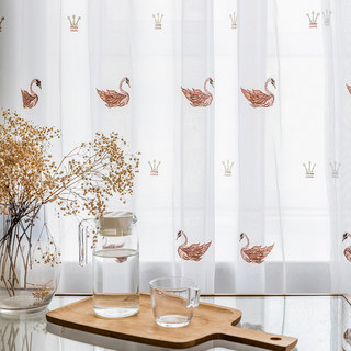 Royalty Sheer Voile Curtains With Embroidered Pink Swans 4