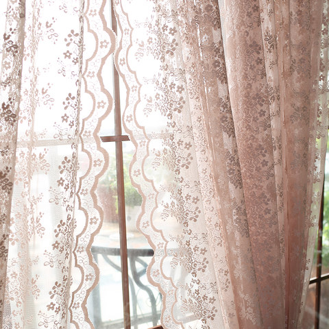 Lace Curtain Posey Pastel Pink Net Curtains 5