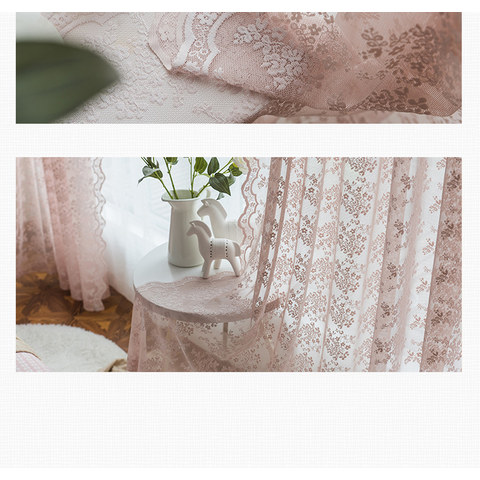 Lace Curtain Posey Pastel Pink Net Curtains 7