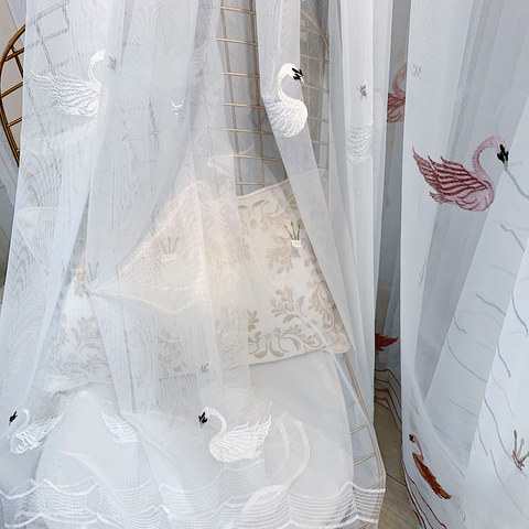 Royalty Sheer Voile Curtains With Embroidered White Swans 10