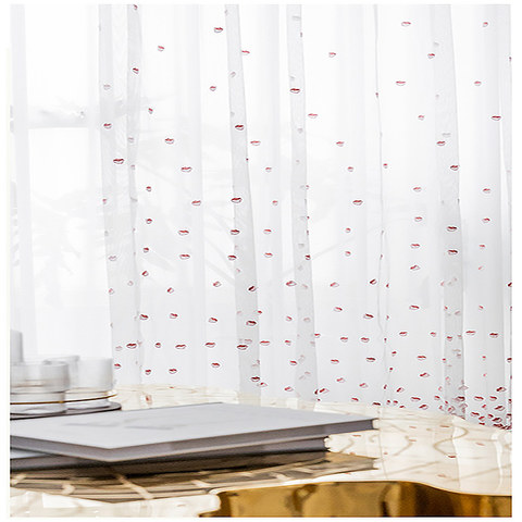 Pink Amore Embroidered Petal Sheer Voile Curtains 2