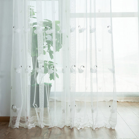 Royalty Sheer Voile Curtains With Embroidered White Swans 2