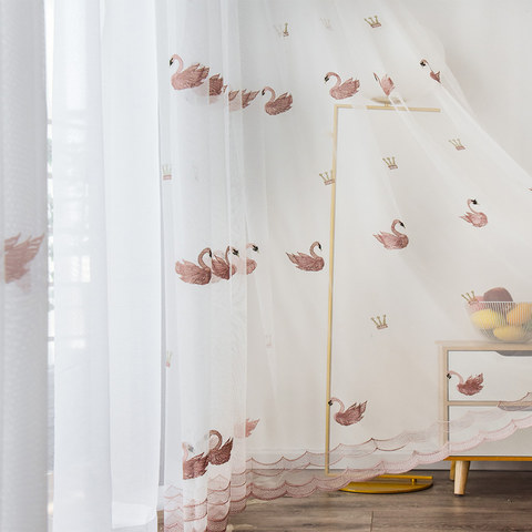 Royalty Sheer Voile Curtains With Embroidered Pink Swans 2