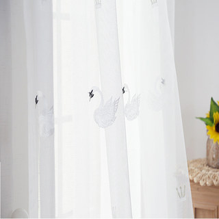 Royalty Sheer Voile Curtains With Embroidered White Swans 4