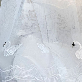 Royalty Sheer Voile Curtains With Embroidered White Swans 6