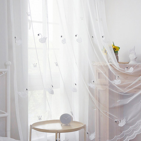Royalty Sheer Voile Curtains With Embroidered White Swans 1
