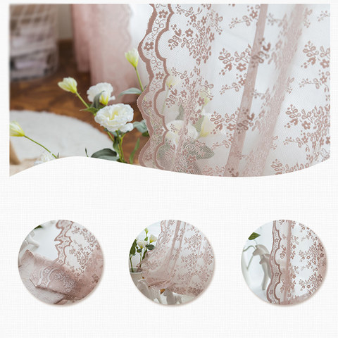 Lace Curtain Posey Pastel Pink Net Curtains 8