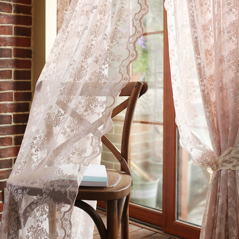 Lace Curtain Posey Pastel Pink Net Curtains 2