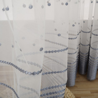 Embroidered Blue Grey Dotted Dot Voile Curtain 2