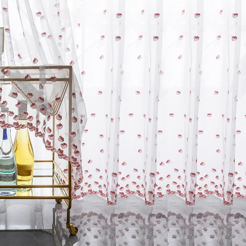 Pink Amore Embroidered Petal Sheer Voile Curtains 1