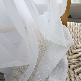 Sheer Curtain The New Neutral White Voile Curtains with Exquisite Striped Texture 13