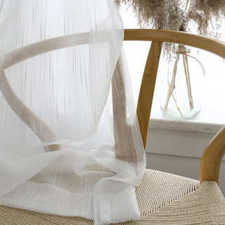 Sheer Curtain The New Neutral White Voile Curtains with Exquisite Striped Texture 2
