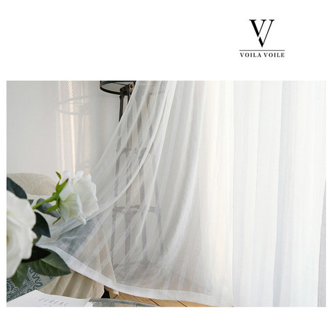 Sheer Curtain Another Fine Mesh White Shimmery Striped Voile Curtain 4