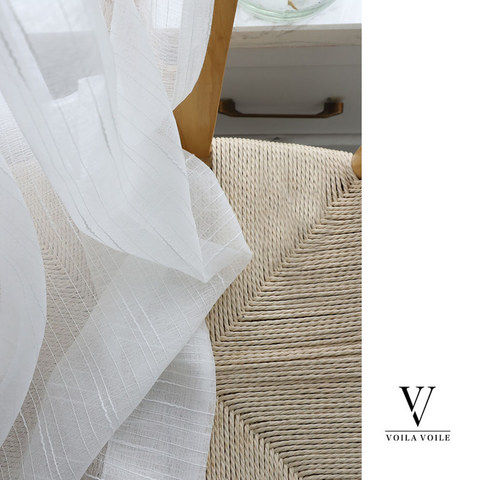 Sheer Curtain The New Neutral White Voile Curtains with Exquisite Striped Texture 9