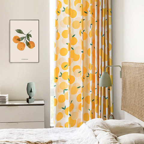 Fresh Day Yellow Clementine Heavy Curtain 1