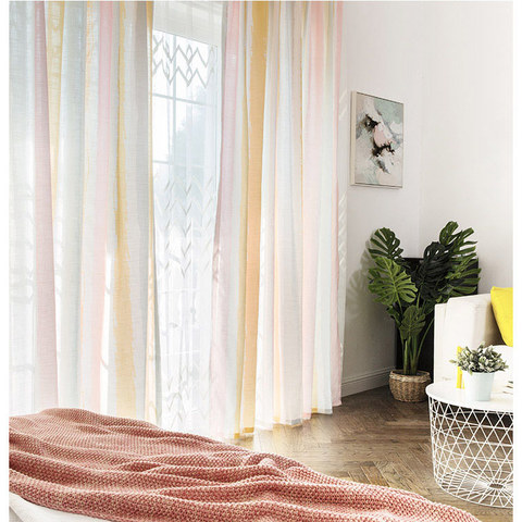Vibrant Watercolour Pink Striped Curtain 4