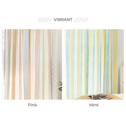 Vibrant Watercolour Pink Striped Curtain 8