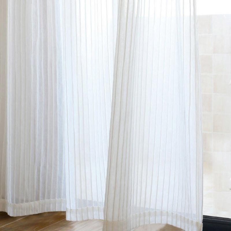 Sheer Curtain Scandinavian Striped, Long White Sheer Curtains