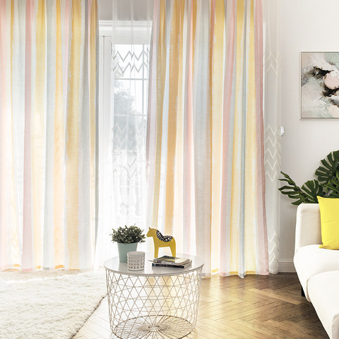 Vibrant Watercolour Pink Striped Curtain 2