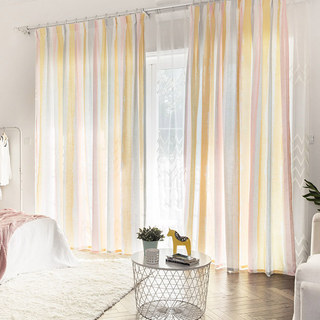 Vibrant Watercolour Pink Striped Curtain 1
