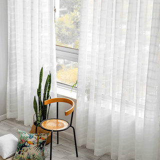 Roma Striped Grid Textured Weaves Sheer White Voile Curtains 1