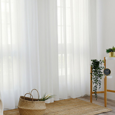 Beatrice Striped White Sheer Voile Curtains 4