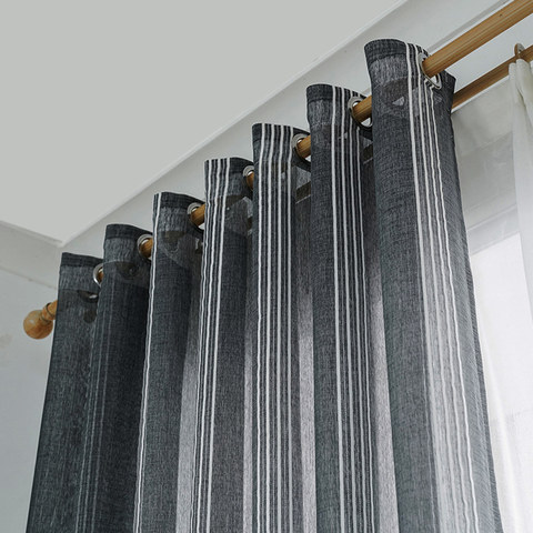 Sheer Curtain Urban Melody Striped Charcoal Grey Voile Curtain 4