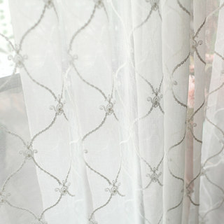 Fleur White Sheer Voile Curtains with Embroidered Trellis and Royal Detailing 5
