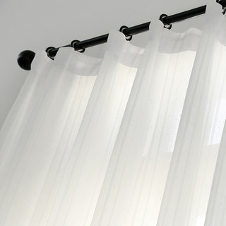 Beatrice Striped White Sheer Voile Curtains 3