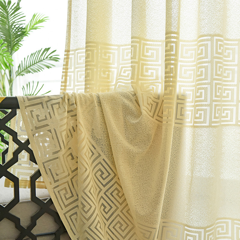 Sheer Curtain Greek Key Light Yellow Voile Curtain   Voila ...