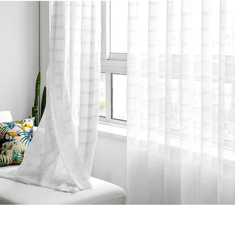 Roma Striped Grid Textured Weaves Sheer White Voile Curtains 2