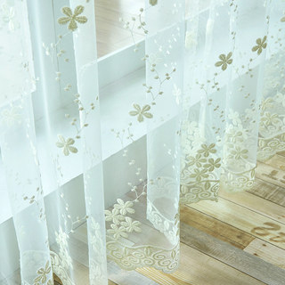 Angelina Cream Sheer Voile Curtain with Embroidered Flowers 5