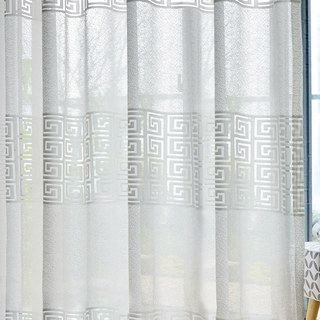 Sheer Curtain Greek Key Ivory White Voile Curtain 3